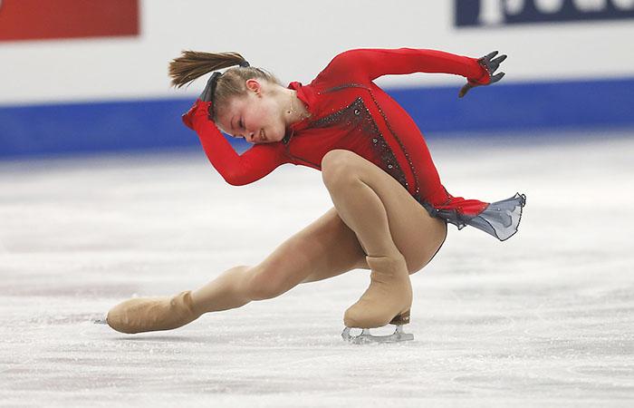 Russia's Julia Lipnitskaia performs in the women's free skating at the European Figure Skating Championships in Budapest, Hungary, Friday, Jan. 17, 2014. (AP Photo/Darko Bandic)